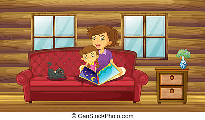 A mother reading with her daughter at the sofa