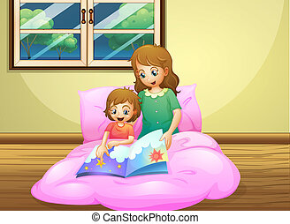 A mother reading with her daughter