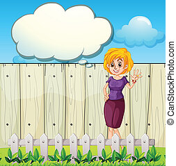 A mother standing near the wooden fence with an empty callout