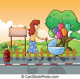 A mother strolling with a stroller