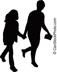 a mother walking with her daughter silhouette