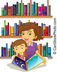 A mother with her daughter reading a book - Illustration of ...