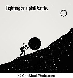 A motivational and inspirational poster representing the proverb sayings, Fighting an Uphill Battle with simple human pictogram.