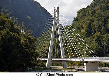 A mountain cable bridge in the Caucasus