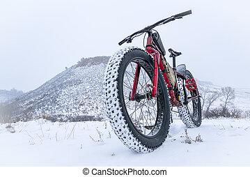 mountain fat bike in a snow blizzard