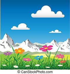 Mountain Landscape - A Mountain Landscape with Flowers