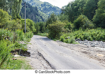 A mountain road along the river