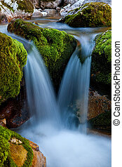A mountain stream waterfall, long time exposure.
