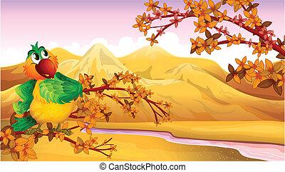 A mountain view with a bird