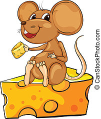A mouse sitting above a cheese