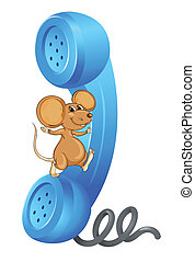 a mouse with receiver - illustration of a mouse with phone...