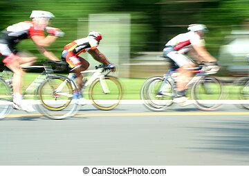 a, mouvement brouillé, race bicyclette