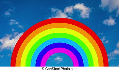 a moving rainbow graphic against clouds - a moving rainbow ...