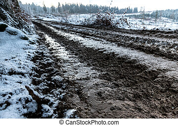 a muddy path of a forest harvester in the winter
