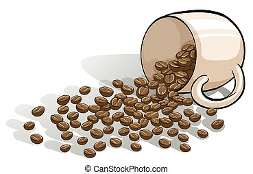 A mug and the spilled beans on a white background