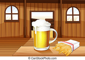 A mug of cold beer and french fries at the saloon bar