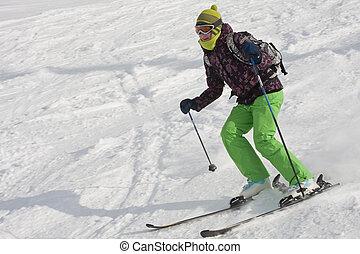 a, mulher, é, esquiando, em, um, refúgio esqui