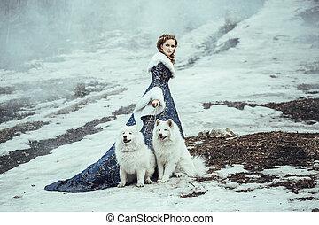 a, mulher, ligado, inverno, passeio, com, um, cão