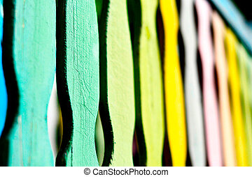 multicolored wooden fence