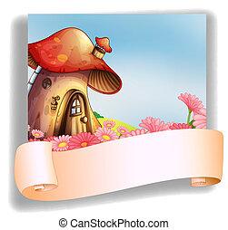 A mushroom house with a signage