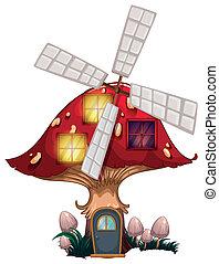 A mushroom house with a windmill