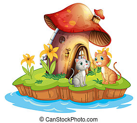 A mushroom house with two cats - Illustration of a mushroom...