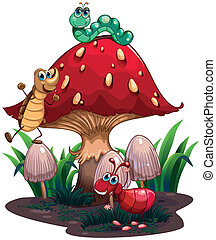 A mushroom surrounded with different insects