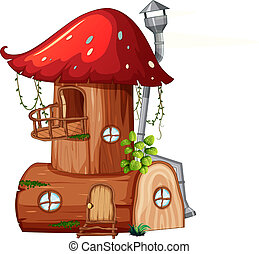 A mushroom wooden house illustration