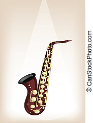 A Musical Alto Saxophone on Brown Stage Background