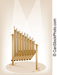 A Musical Angklung on Brown Stage Background