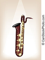 A Musical Baritone Saxophone on Brown Stage Background