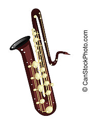 A Musical Bass Saxophone Isolated on White Background