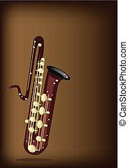 A Musical Bass Saxophone on Dark Brown Background
