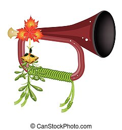 A Musical Bugle with Mistletoe and Golden Bells