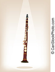 A Musical Clarinet on Brown Stage Background