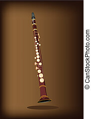 A Musical Clarinet on Dark Brown Background