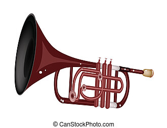 A Musical Cornet Isolated on White Background