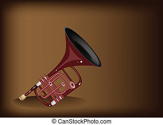 A Musical Cornet on Dark Brown Background