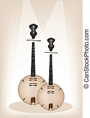 Music Instrument, An Illustration Brown Color of Banjo or Dan Nguyet on Brown Stage Background with Copy Space for Text Decorated