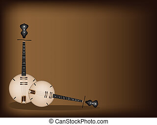 Music Instrument, An Illustration Brown Color of Banjo or Dan Nguyet on Beautiful Dark Brown Background with Copy Space for Text Decorated