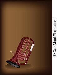 A Musical Euphonium on Dark Brown Background