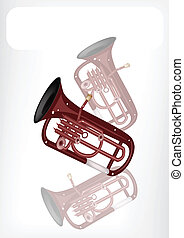 A Musical Euphonium with A White Banner - Music Instrument,...