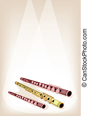A Musical Flute on Brown Stage Background