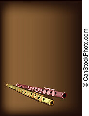 A Musical Flute on Dark Brown Background