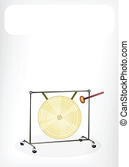 A Musical Gong with A White Banner