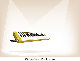 A Musical Melodica on Brown Stage Background