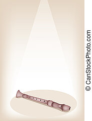 A Musical Recorder on Brown Stage Background