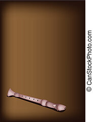 A Musical Recorder on Dark Brown Background