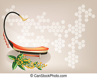 A Musical Saung and Yellow Padauk Flower on Brown Background