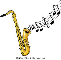 a musical saxophone